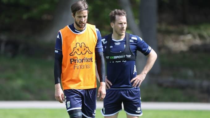 IFK Göteborgs Mattias Bjärsmyr och Tobias Hysén på Blåvitts träning under torsdagen. Foto: ADAM IHSE / TT