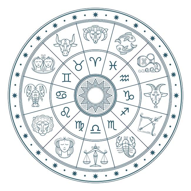 Djurkretsen, som också kallas zodiaken, består av tolv stjärnbilder: Väduren, oxen, tvillingarna, kräftan, lejonet, jungfrun, vågen, Skorpionen, skytten, stenbocken, vattumannen och fiskarna.