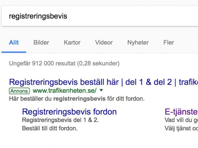 "Den som slog på ""registreringsbevis"" på Google fick upp Trafikenheten.se. Nu ligger sajten nere."