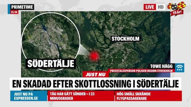 """Man skadad i skottlossning i Södertälje: """"Han är på sjukhus"""""""