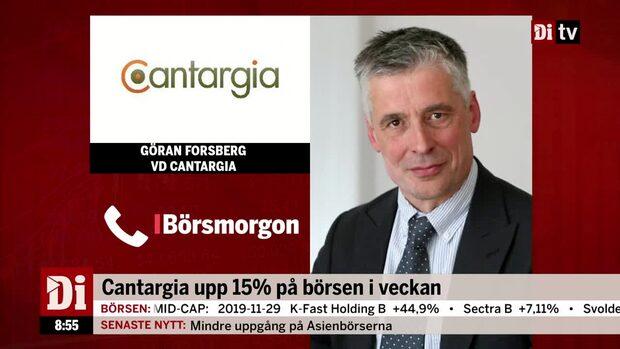 """Cantargias vd om veckans aktielyft: """"Vi har haft två väldigt positiva nyheter"""""""