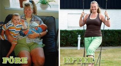 Anna Hallén, 45. DÅ. Trött och seg. NU. Har normal vikt och full av energi.