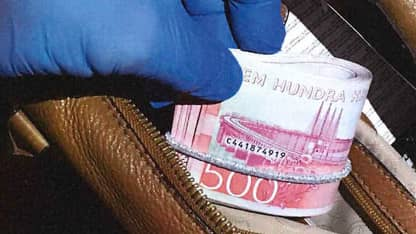 Kontanter som hittades vid husrannsakan. Foto: Polisen