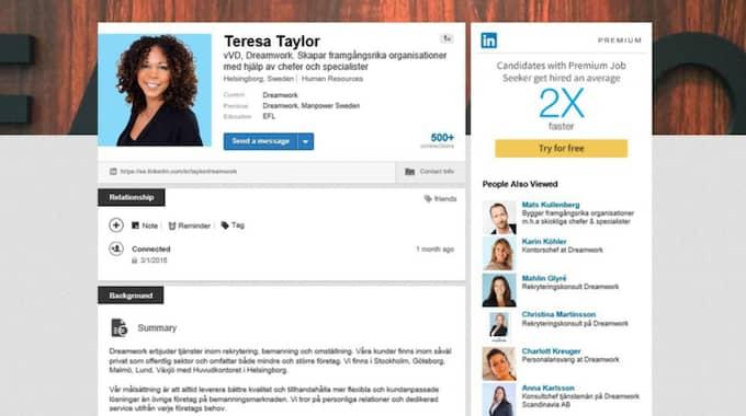 """Terese Taylor finns förstås själv på Linkedin. """"Använd en bra bild där du ser glad ut i ett professionellt sammanhang"""", säger hon."""