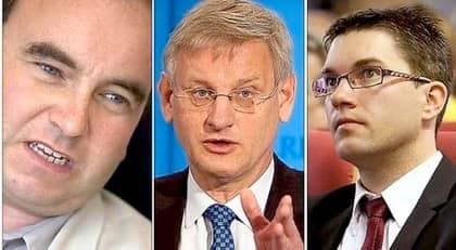 RETORISK TALANG. Att debattera eller tiga ihjäl Sverigedemokraterna med Jimmie Åkesson, bilden till höger, i ledningen fungerar inte, skriver Bo Rothstein, bilden till vänster. I stället tror han att Carl Bildt, mitten, med sina ironiska kvickheter och sin slagfärdighet skulle kunna bli ett effektivt motmedel mot partiet. Foto: TOMMY SVENSSON, ROGER VIKSTRÖM, SVEN LINDWALL