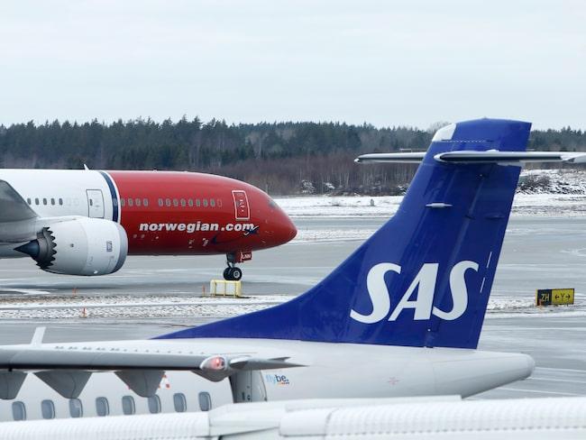 Samtidigt får SAS se sig slagna av norska konkurrenten Norwegian.