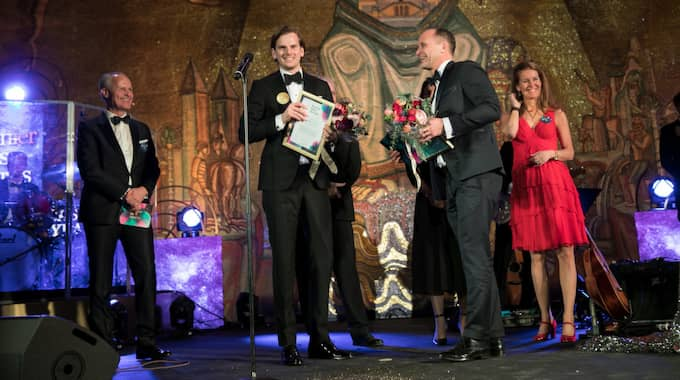 Jonathan Olsson och Magnus Anjou tog hem första pris i kategorin årets säljaffär på Bonnier Sales Awards. Foto: RIKARD WESTMAN