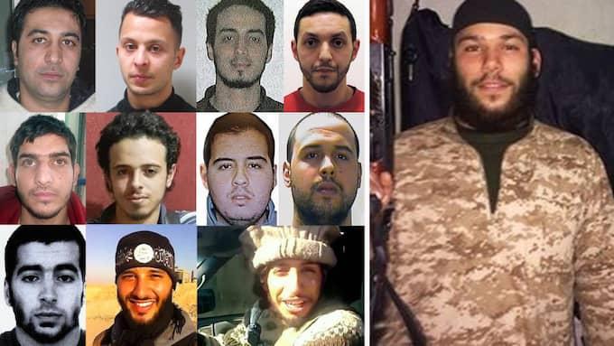 """Medlemmar i Osama Krayems terrorcell, övre raden: Mohamed Belkaid, Salah Abdeslam, Najim Laachraoui, Mohamed Abrini, mellersta raden: """"Ahmad al-Mohammad"""", Bilal Hadfi, Ibrahim el Bakraoui, Khalid el Bakraoui, nedersta raden: Chakib Akrouh, Foued Mohamed-Aggad, Abdelhamid Abaaoud, stora bilden: Osama Krayem."""