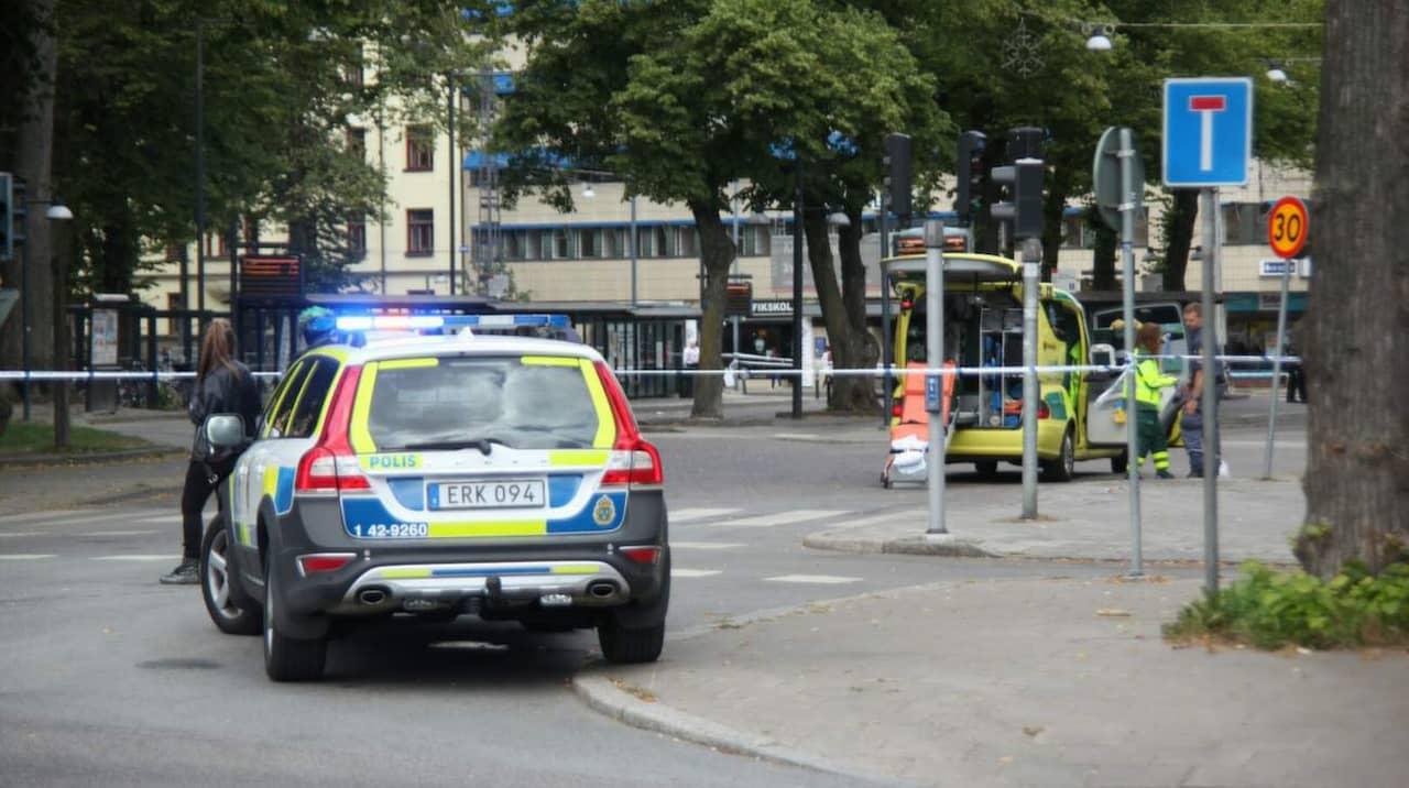Psykiskt sjuk knivskar polis