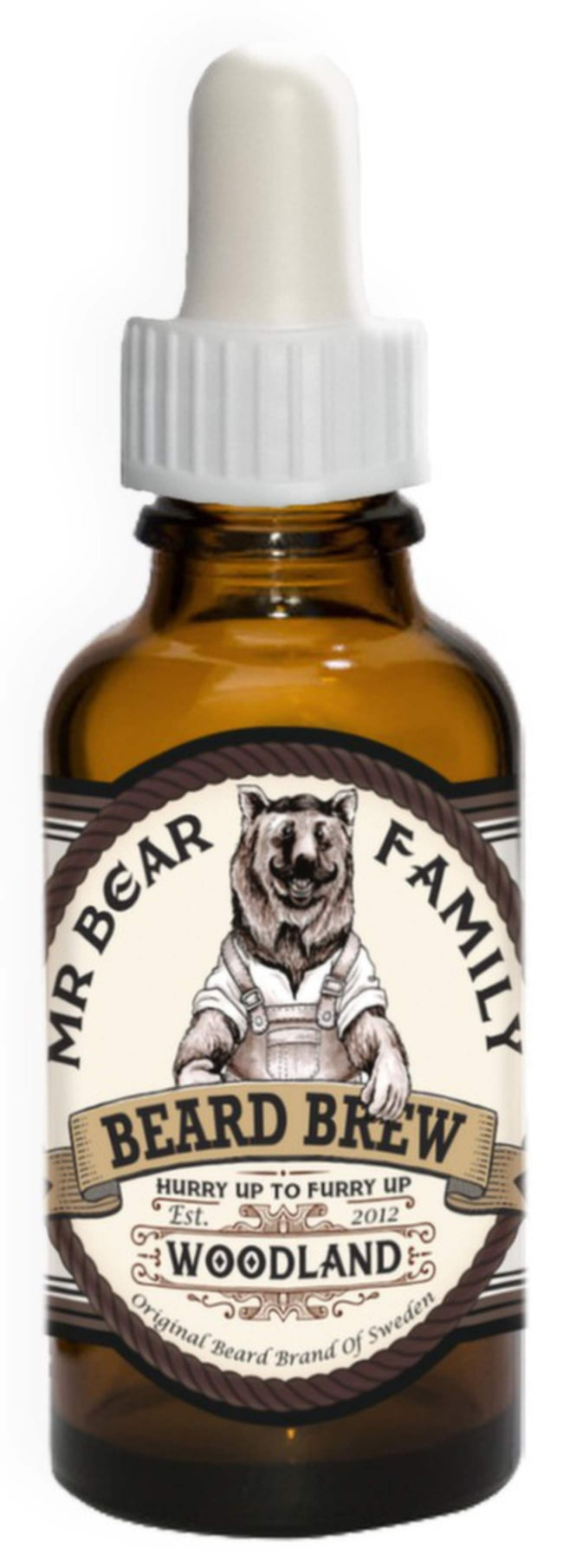 """<span>Skäggolja med doft av tallskog från Mr Bear, 30 ml, 155 kronor på <a href=""""http://www.grooming.se/mr-bear-brew-woodland.html"""">Grooming.se</a>.</span>"""