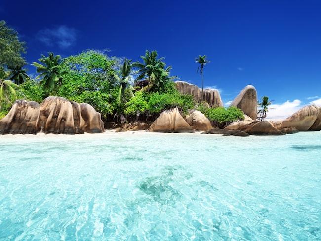 En av världens mest berömda stränder: Anse Souce d'Argent.