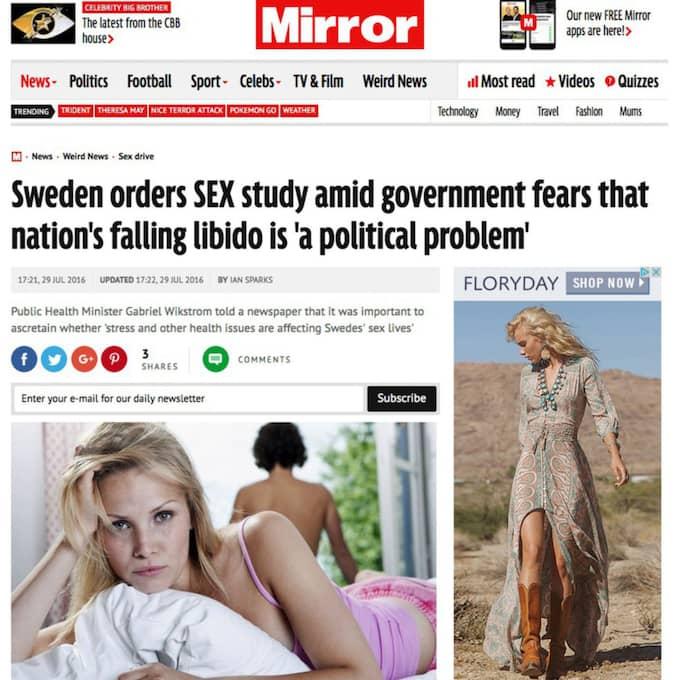 """Mirror kategoriserar artikeln under """"udda nyheter"""". Foto: Skärmdump"""