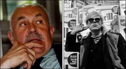Konstsamlaren Pontus Hultén grundade Moderna museet i Stockholm och arrangerade den omtalade Warhol-utställningen 1968. Den besöktes av Andy Warhol, som poserade framför de 500 Brilloboxarna. Foto: SCANPIX och OVE HALLIN/SVENSKT PRESSFOTO