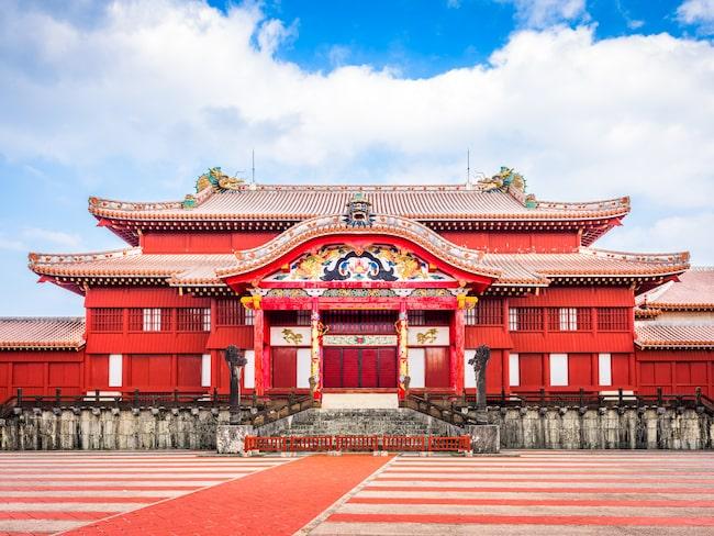 Shuri-jo i Japan, återuppbyggt sedan det totalförstördes under slaget om Okinawa.