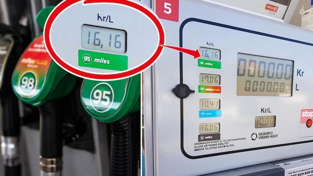 Gränsen sprängd – priset på bensin över 16 kronor