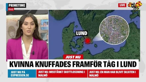 Larm: Kvinna knuffad framför tåg i Lund