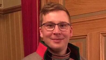 Daniel Holst, 23, representant för partiet Jakt- och fiskesamerna i Sametinget var en av de på plats för att protestera. Foto: Privat