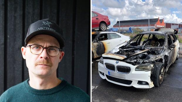 """Familjen Löfgrens bil fattade eld på motorvägen: """"Började ryka"""""""