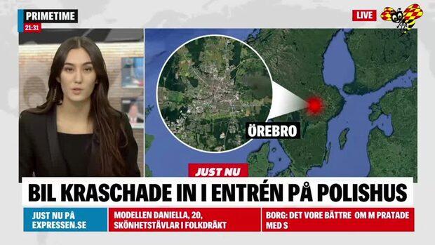 Bil körde in i entrén på polishuset i Örebro