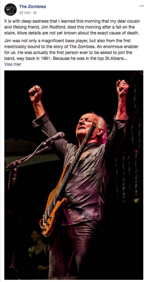 Jim Rodford blev 76 år. Foto: Maggie Clarke/Facebook