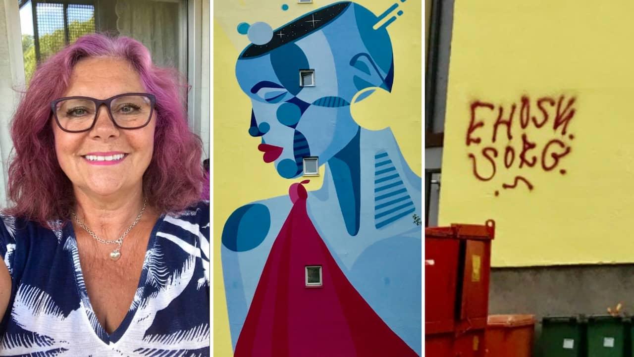 Majorna: Elaine Axelsson ilsken på graffiti-tagg