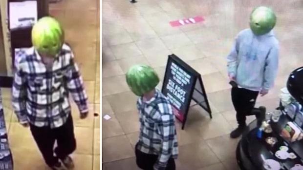 Här rånar de butiken – utklädda till vattenmeloner