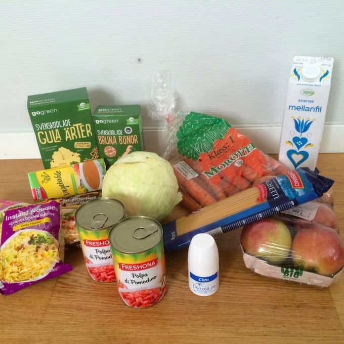 Med 61 kronor om dagen består kosten nästan uteslutande av vegetarisk mat. Foto: Privat