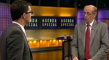 SD i Agenda. SD:s partiledare Jimmie Åkesson grillas av K-G Bergström efter valet.