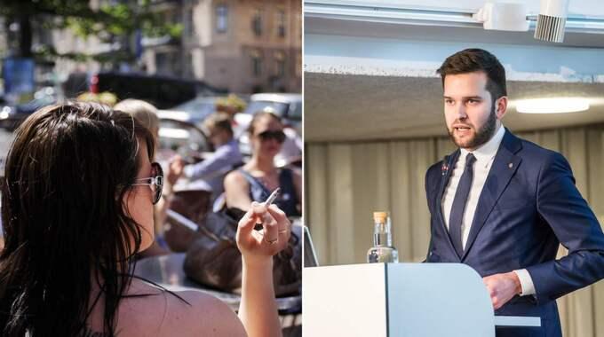 Folkhälsominister Gabriel Wikström (höger) vill förbjuda rökning på uteserveringar, perronger och lekplatser. Dessutom vill han göra cigarettpaketen helt dekorfria och neutrala - oavsett märke. Foto: All Over Press/Pelle T Nilsson