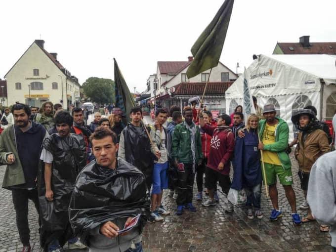 I två veckor gick han 35 mil till fots tillsammans med ett 30-tal andra aktivister. Foto: Tomas Bengtsson / Tt