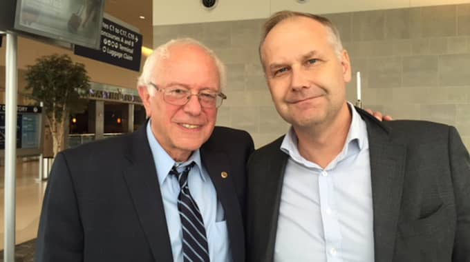 Bernie Sanders och Jonas Sjöstedt träffades i höstas. Foto: Privat