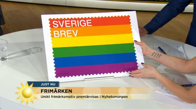 I morse avslöjades motivet för Sveriges nyaste frimärke i TV4:s Nyhetsmorgon. Beskedet: Regnbågsflaggan blir frimärke.