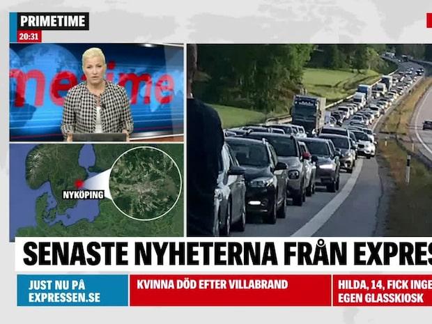 Totalstopp på E4 efter olycka vid Nyköping