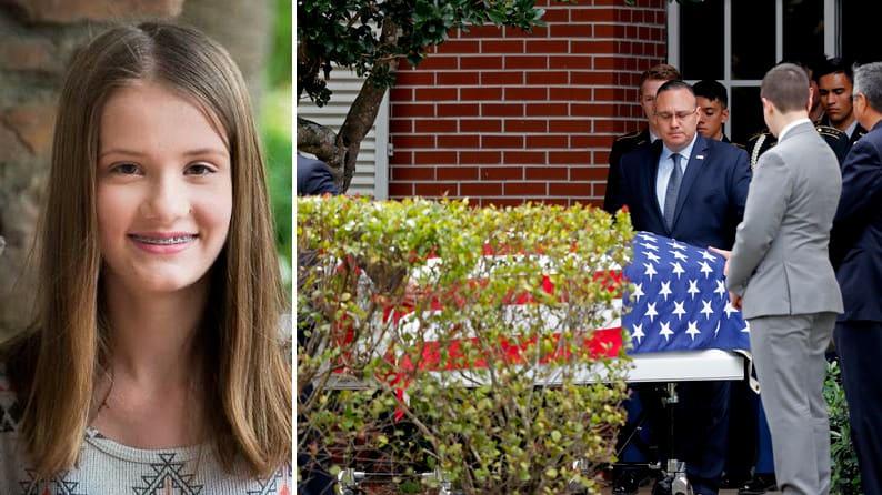 Vid måndagens begravning av 14-åriga Alaina Petty – som sköts