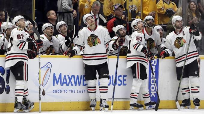 Trefaldiga mästarna Chicago Blackhawks är ute ur Stanley Cup. Foto: Mark Humphrey / AP TT NYHETSBYRÅN
