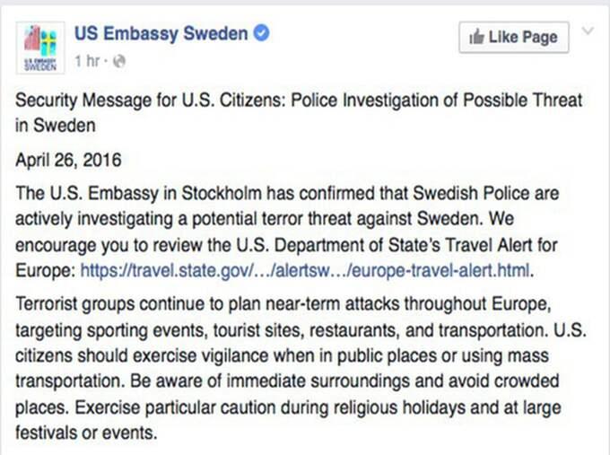 USA:s ambassad i Sverige uppmanar resande till Sverige att vara uppmärksamma. Foto: Facebook