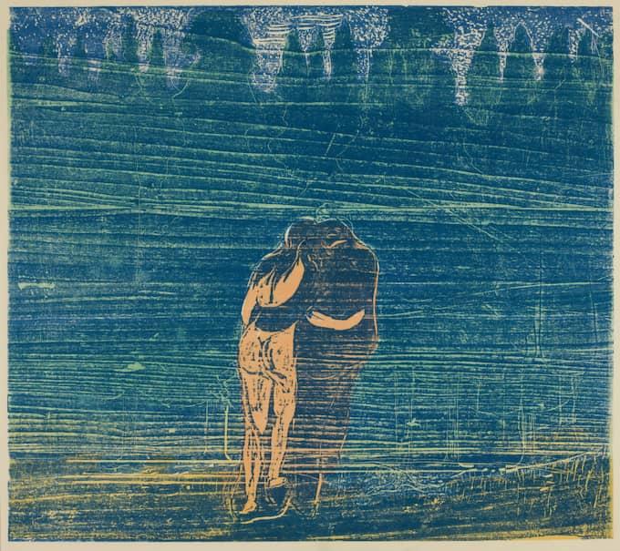 """MOT SKOGEN. Edvard Munch målade den 1897, och i utställningen med samma namns audioguide säger Knausgård om det omslingrade paret att det är """"som om han aldrig kan komma henne riktigt nära"""". Foto: Sidsel De Jong/EDVARD MUNCH"""