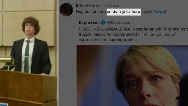 """KD-politikern om S-ministern: """"Dum jävla hora"""""""