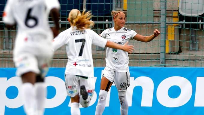 Sanne Troelsgaard, som avgjorde cupfinalen 2017, nickade in 1–0 på Malmö IP. Foto: JOSEFINE LOFTENIUS / BILDBYRÅN