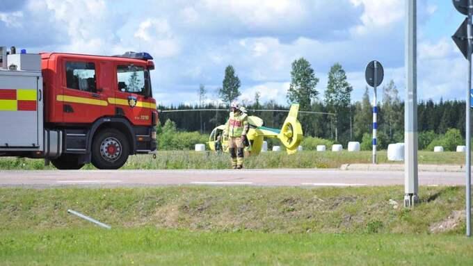 En person skadades svårt i en mc-olycka på E45 i närheten av Karlstad under måndagen. Foto: Madelene Hårseth / Dagsmedia.se