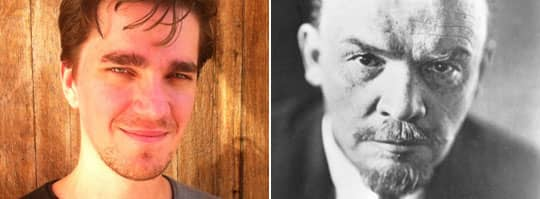Sovjets grundare. Vladimir Lenin (till höger) hade efter att han tagit makten få allierade och ekonomin höll på att falla samman. Detta till trots fortsatte Sverige att vidhålla sina goda relationer med Ryssland. Till vänster i bild syns skribenten Martin Kragh. Foto: Pressens bild