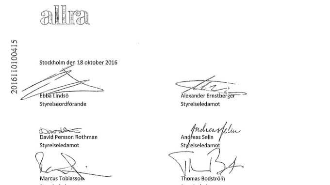 Bodströms namnteckning vid en annan del av beslutet som låg till grund för utbetalningen.