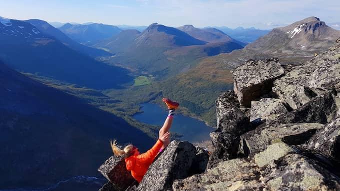 Kameran fångar Linda Törner när hon faller. Foto: Privat.