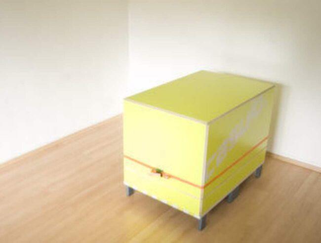 Det här är ingen vanlig låda. Den ser ut att rymma några småprylar – inte alls ett helt rum. Men det är faktiskt sant. Bläddra vidare, så får du se.