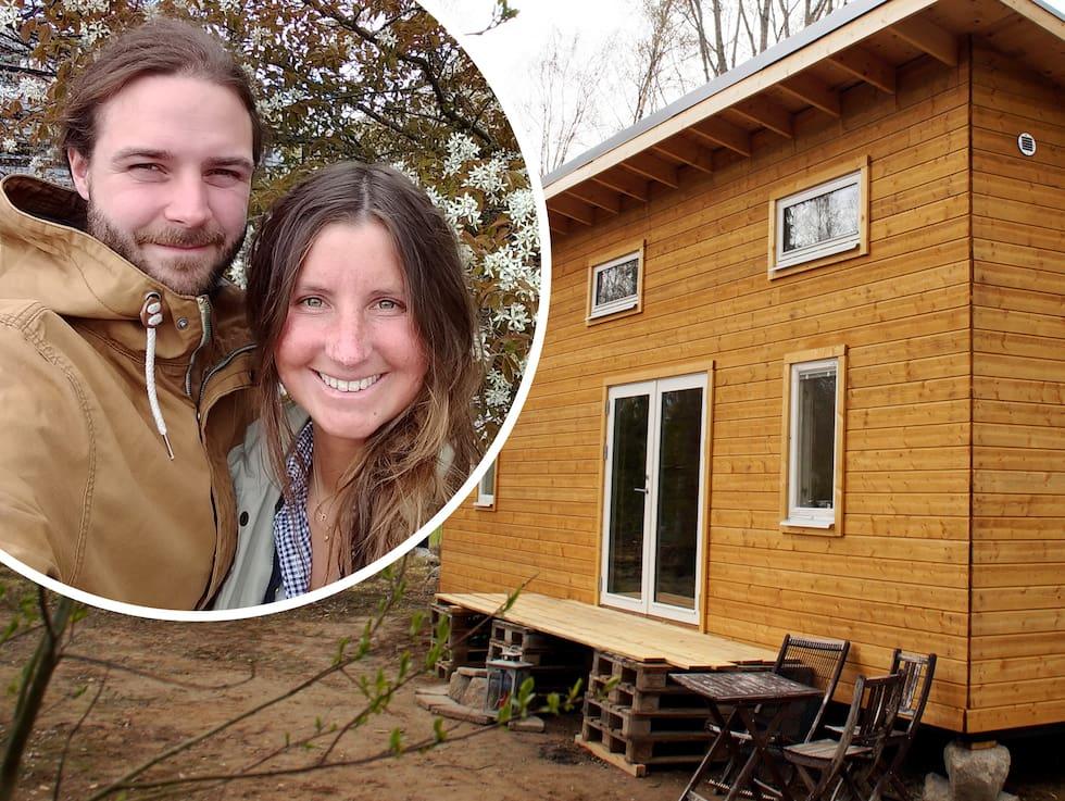 Caroline och Emanuel bygger ett minihus på två hjul