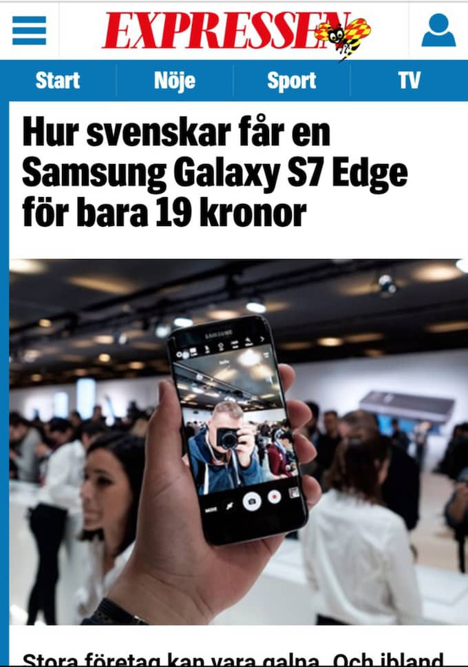 Så här ser den fejkade artikeln ut. Observera att Expressen inte är avsändare till artikeln.