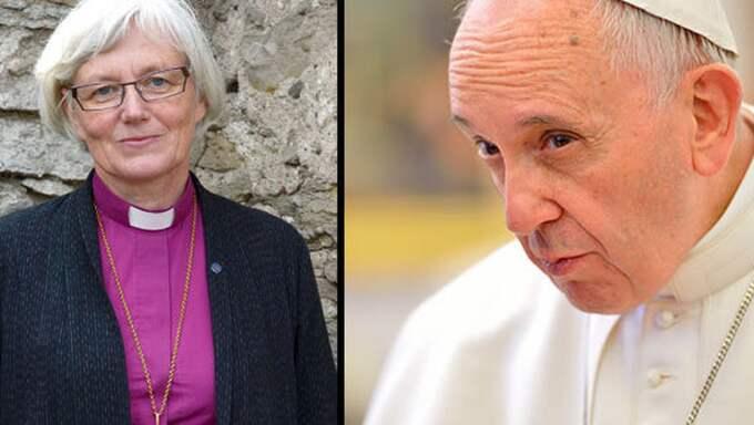 Ärkebiskop Antje Jackelén och påve Franciskus.