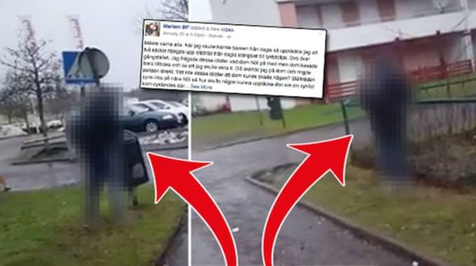 Två personer spände upp en ståltråd över en gångbana i Skövde. Foto: Privat