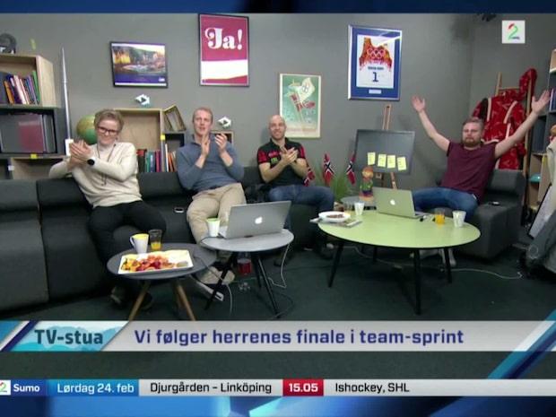 Här firar Norge guldet i sprintstafett