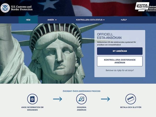 Svenskar måste ansöka om ett inresetillstånd (ESTA) minst tre dagar innan avresa till USA.